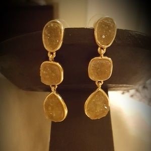 Gold with tan three stone earrings